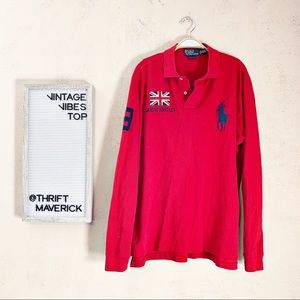 Red Graphic Polo Novelty Long Sleeve | Vintage